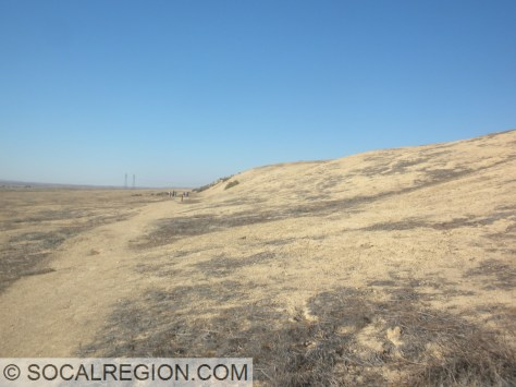 Fault scarp in the Carrizo Plain. This marks the line of movement from the 1857 event.