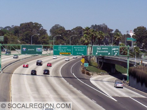 "Souith at the 163, the ""Four Level"" interchange in San Diego."