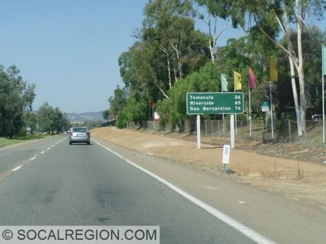 Mileage along Centre City Parkway in Escondido.