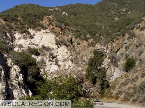 San Gabriel Fault exposure in Little Tujunga Canyon. Fault is visible as the boundary between the lighter and darker rocks.