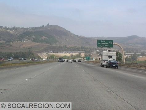 Approaching State 76 near Pala in northern San Diego County.