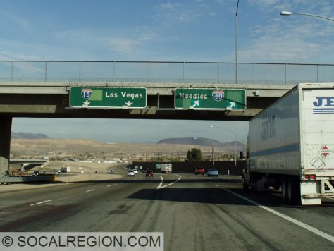 At I-40. The greenout covers US 66 (right) and US 91 (left) shields.