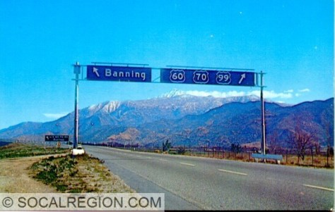 1950's postcard showing the old western Banning exit and signage. This was located about half way between the 22nd St and 8th St exits.
