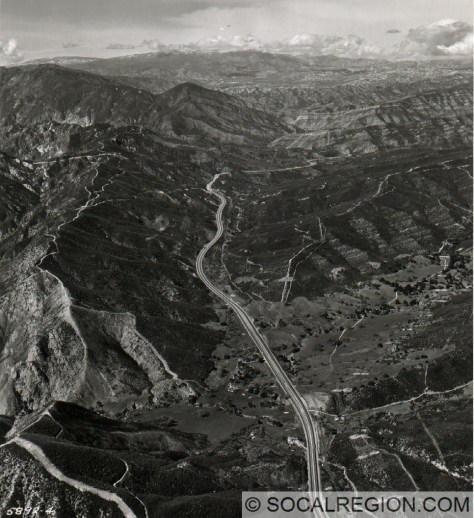 1958 view of Big Oak Flat with Whitaker Summit in the distance. Looking northerly. Courtesy - Caltrans.