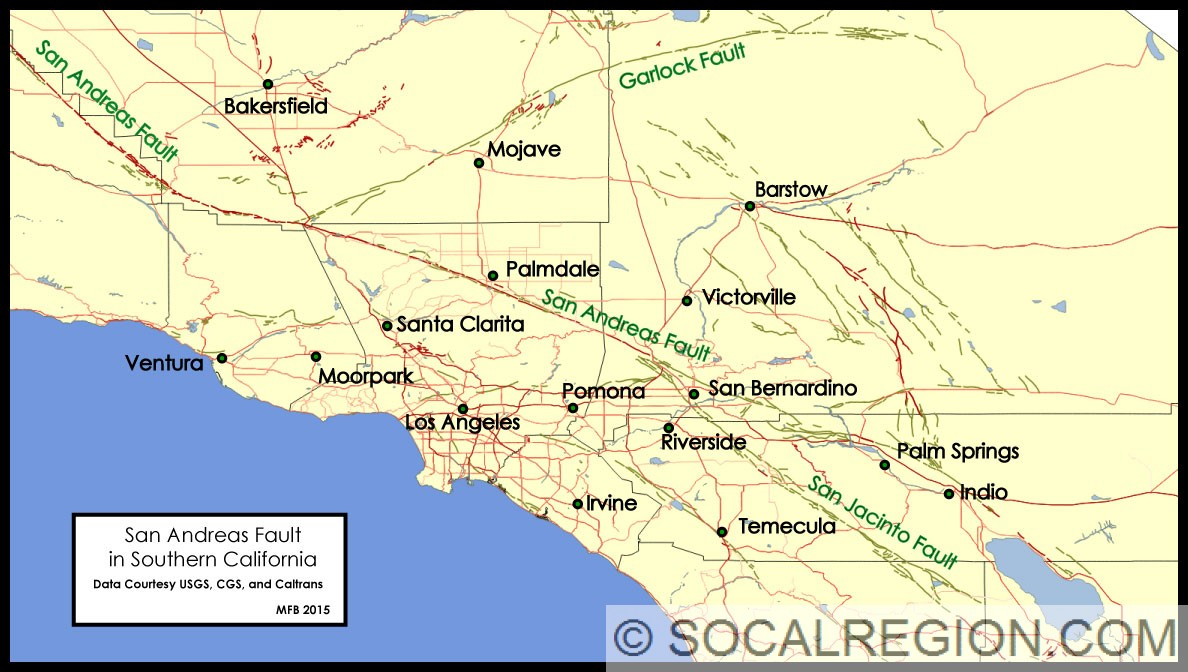 San Andreas Fault In Southern California Southern California Garlock Fault On Us Map