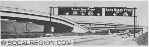Late 1950's view of the Santa Ana Freeway (I-5) at the Long Beach Freeway (I-710) with the original signage and route numbers.
