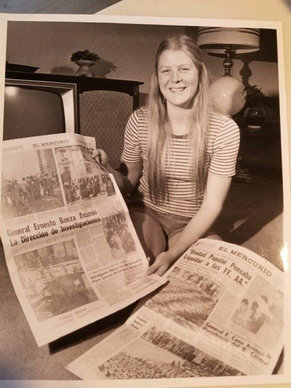 Nancy Kirkpatrick with newspapers