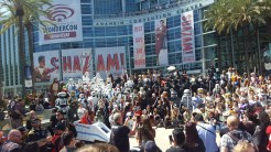 Star Wars cosplayers meet for a group photo op.