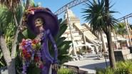 Skeleton decorations near Jaguar roller coaster