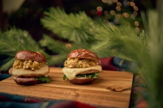 Vixen's Turkey Burger with Cheese, Cranberry Mayo and Stuffing on a Pretzel Bun