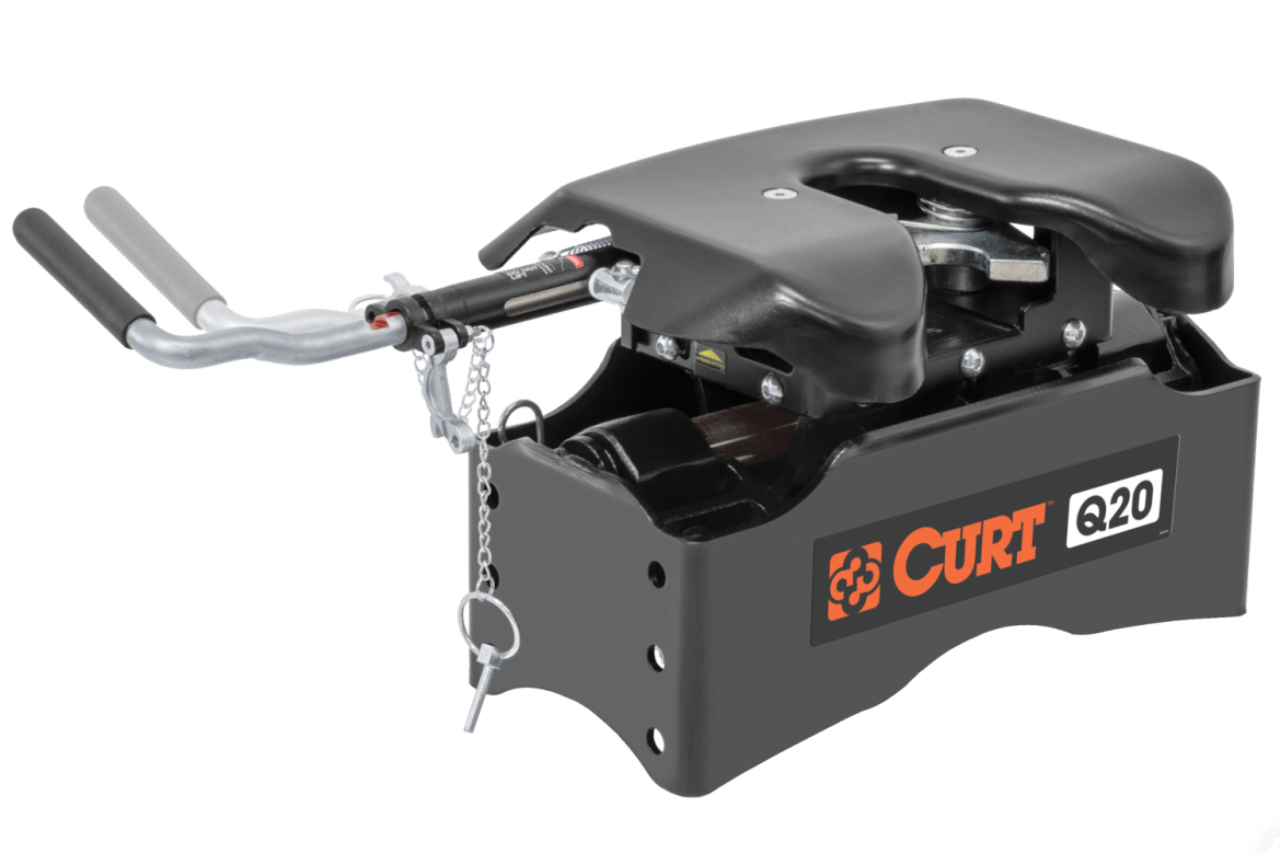 Side view of a curt Q20 5th wheel hitch system.