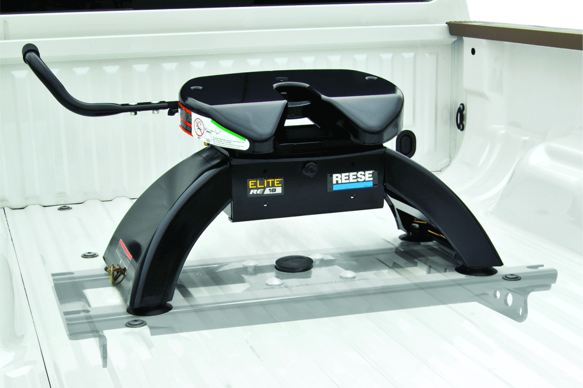 Elite series Reese 5th wheel hitch 18k shown installed inside a truck bed.
