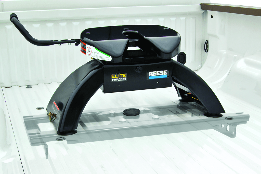 Elite series Reese 5th wheel hitch 26.5k shown installed inside a truck bed.