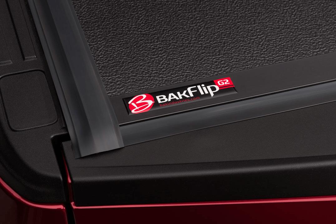 Close up of the Bakflip G2 seals and logo.