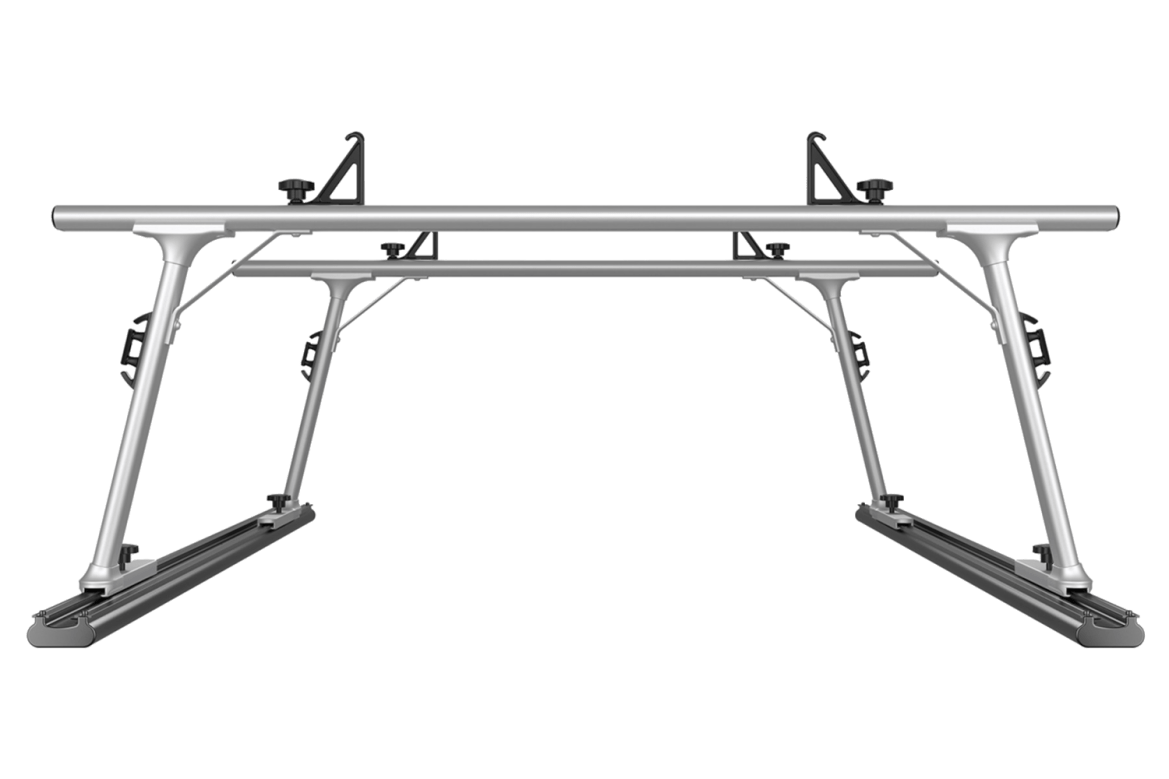 Thule TracRac adjustable truck rack frontal view.