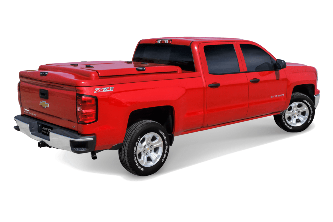 The ARE 3DL fiberglass tonneau cover shown installed on a Chevrolet SIlverado.