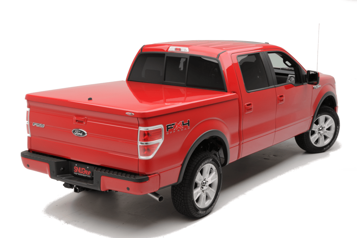 The Snugtop RL fiberglass tonneau cover shown installed on Ford F150.