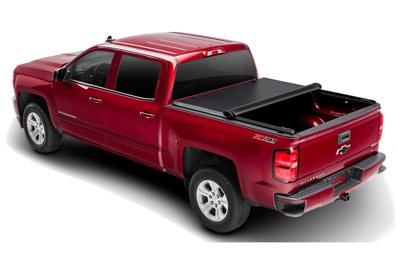The Extang Express rolling tonneau cover shown half open on a Chevrolet Silverado.