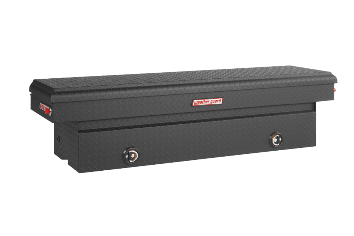 Weather Guard saddle tool box in matte black.