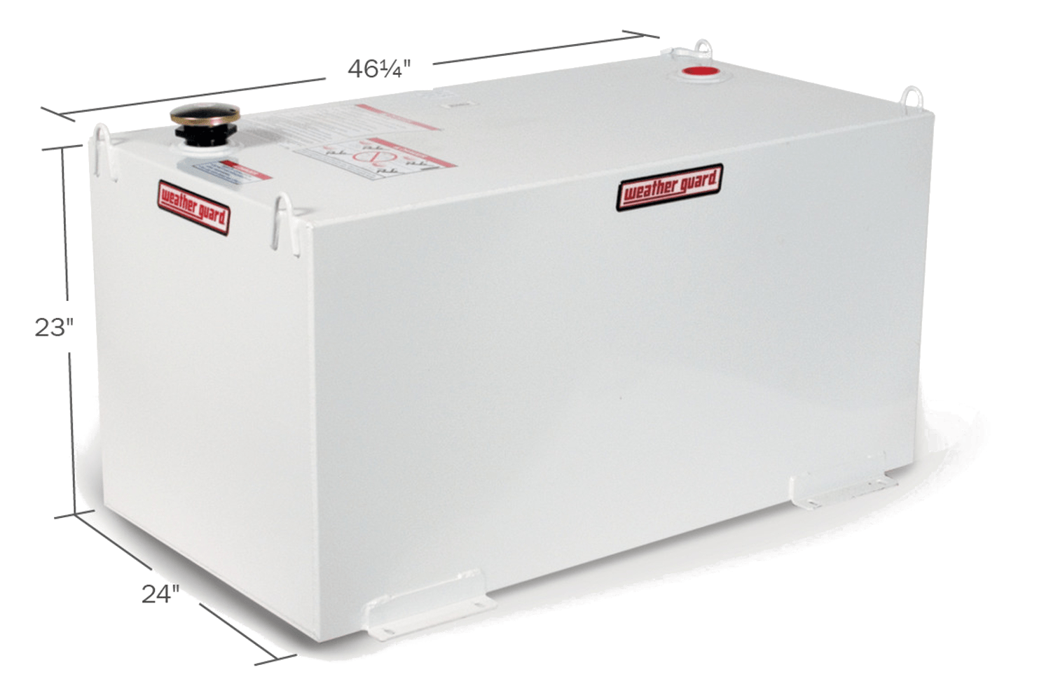 Weather Guard rectangular fuel tanks in white.