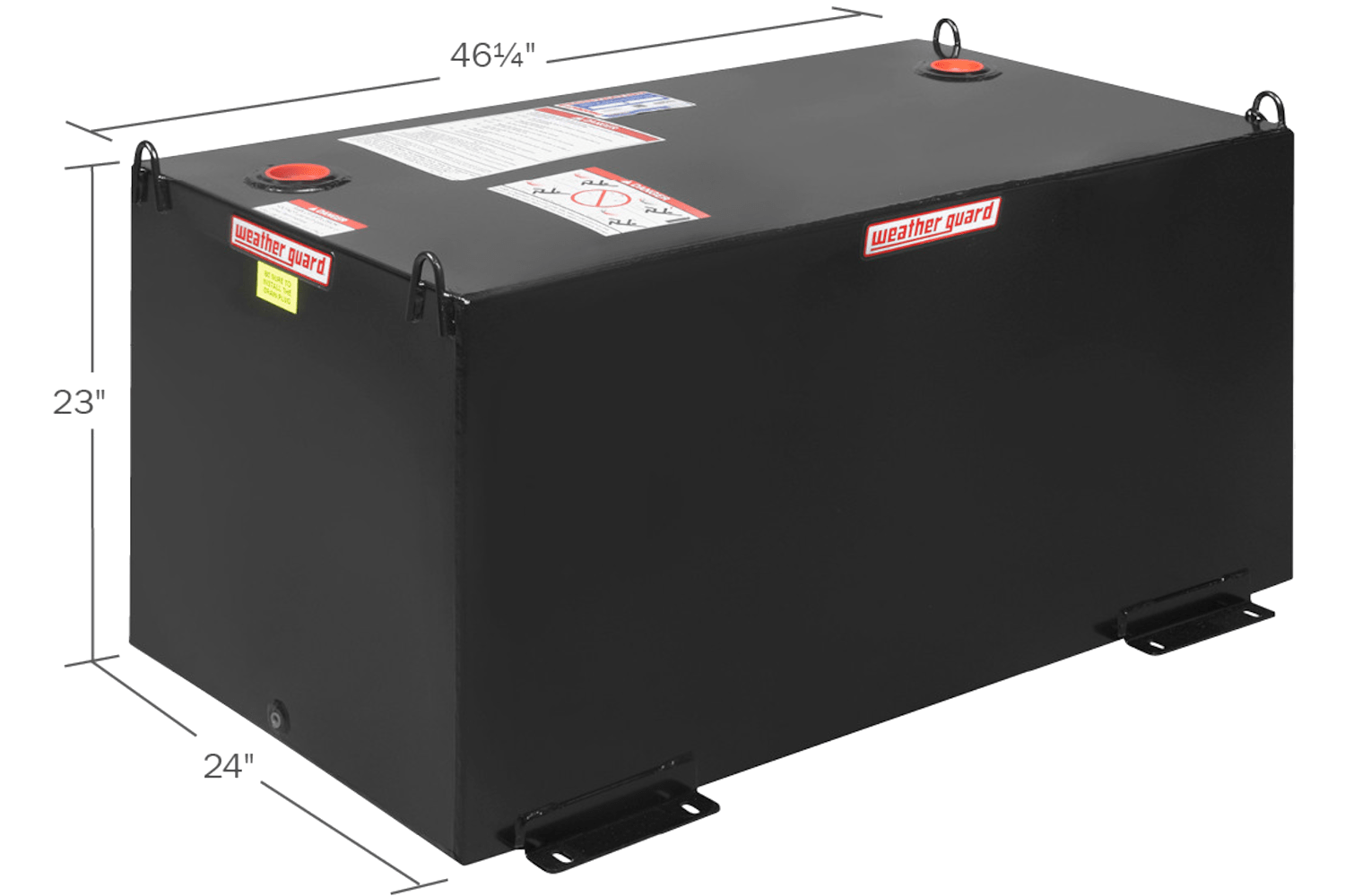 Weather Guard rectangular fuel tanks in black.