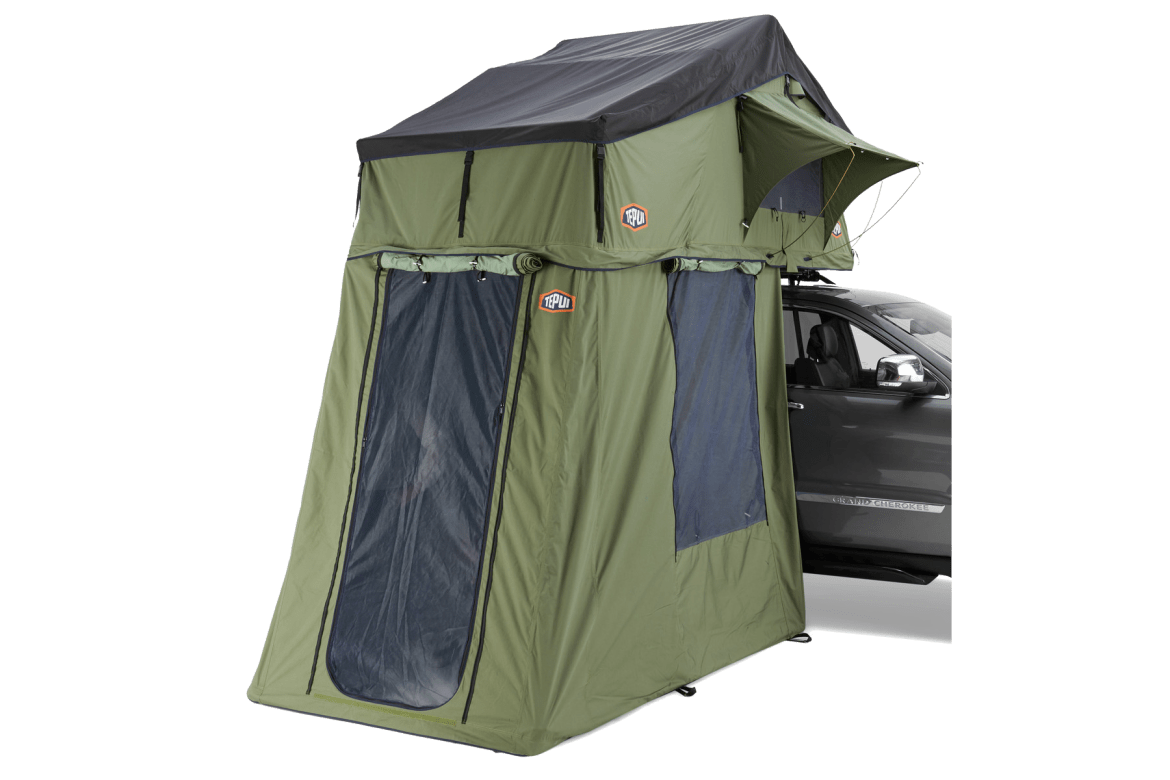 Tepui Ruggedized Series Autana 3 in green shown installed on a vehicle.