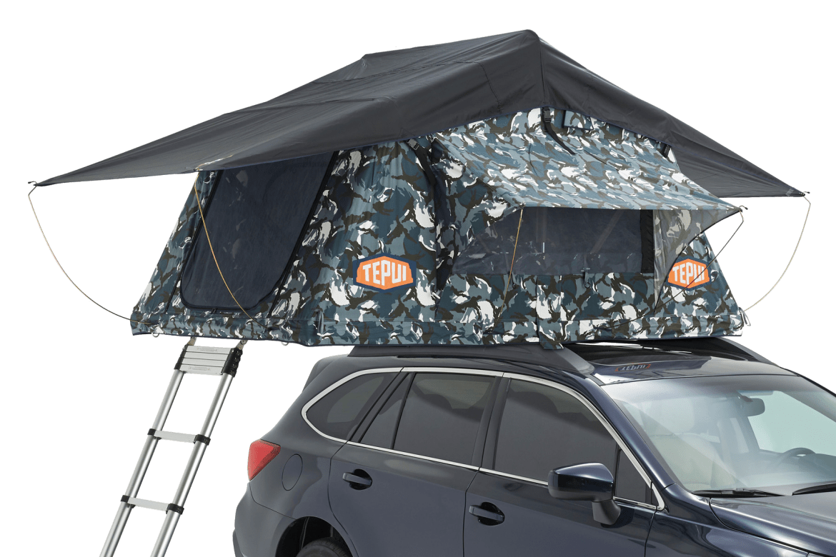 Tepui rooftop tent shown installed on a vehicle in Siberian camo.