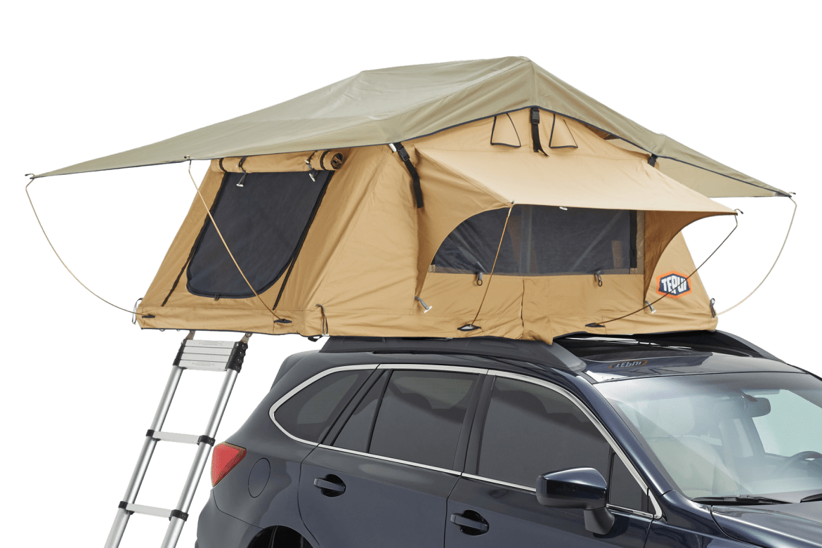 Tepui Ayer 2 shown installed on a vehicle in tan.