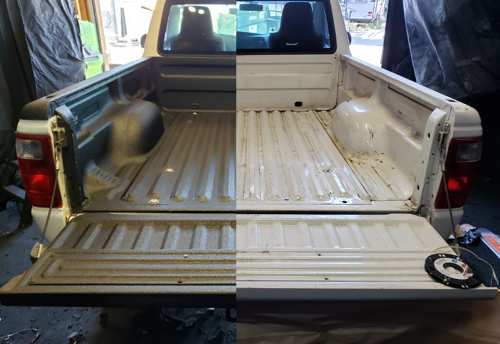 See the difference Bullet Liner protective spray liners makes for even an old vehicle like this Ford Ranger.