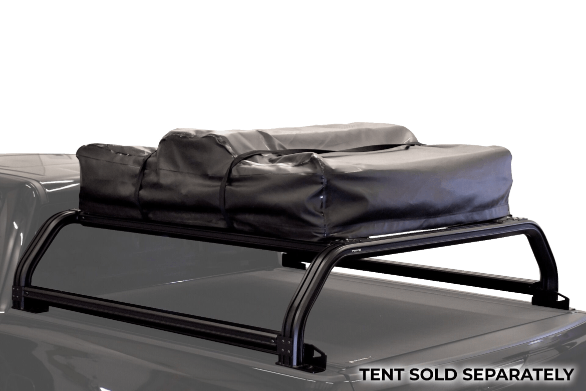 Putco overland rack shown installed with rooftop tent.