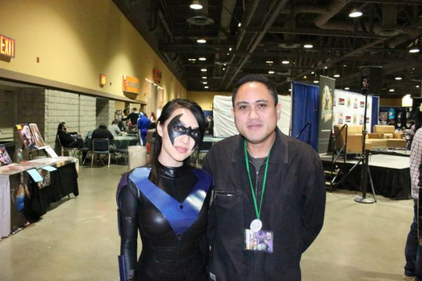 """2013 LBCC: My Sunday photo op with professional cosplayer """"Vampy.Bit.Me"""" (as a Female Nightwing)."""