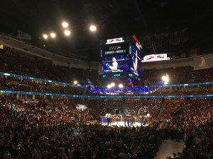 Nate Diaz vs. Anthony Pettis pre-fight introductions in the co-main event of UFC 241 at the Honda Center in Anaheim, CA (August 17th, 2019(