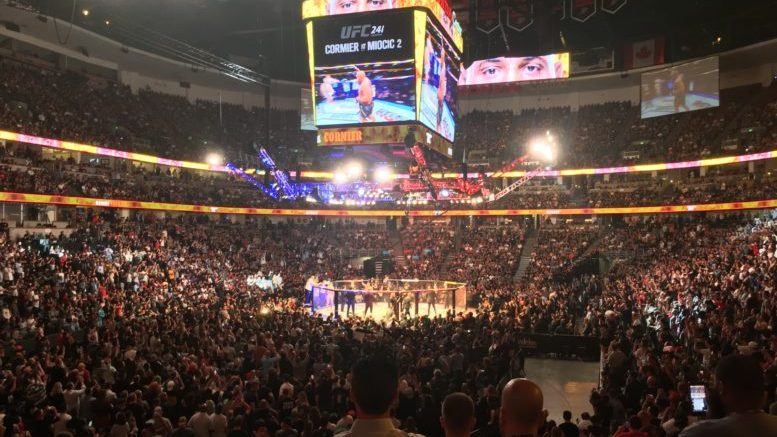 Daniel Cormier entering the Octagon for the main event of UFC 241 at the Honda Center in Anaheim, CA (August 17th, 2019)