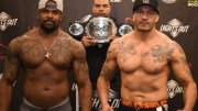 LXF Heavyweight Champion Jay Silva and Michael Quintero with LXF promoter Shawne Merriman at the LXF 4 weigh-ins in Burbank, CA (November 14th, 2019 - Courtesy of Lights Out Xtreme Fighting))