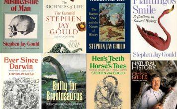 Et udsnit af Stephen Jay Goulds bøger og et nr. af Natural History, som han skrev mange artikler til.