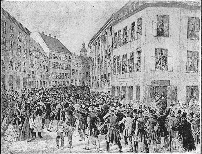 Folketoget i København den 21. marts 1848.Tegning scannet fra bogen: