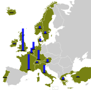 Map of Cold-War era Europe showing countries that received Marshall Plan aid. The blue columns show the relative amount of total aid per nation