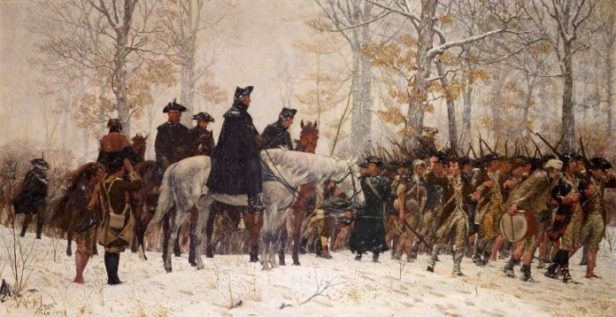 Painting depicting George Washington leading the Continental Army to Valley Forge in 1777. Painted in 1883 by William B. T. Trego (1858-1909). Source/Photographer http://www.nationalserviceact.org/9.html , copied from en.wikipedia. Public Domain.