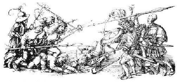Johan Rantzau (1492-1565) feltherre med tyske lejesoldater, hyret af Christian d. III til at nedkæmpe bondeoprør i Jylland. I lyntempo rykkede han frem via Kolding, Varde, Randers og til sidst Aalborg, hvor Skipper Clement havde forskanset sig. Aalborg indtages efter få dage 18 december 1534, og mere en 2000 mennesker slås ihjel. Der er fri plyndring for lejesoldaterne bagefter. Skipper Clement henrettes i 1536.