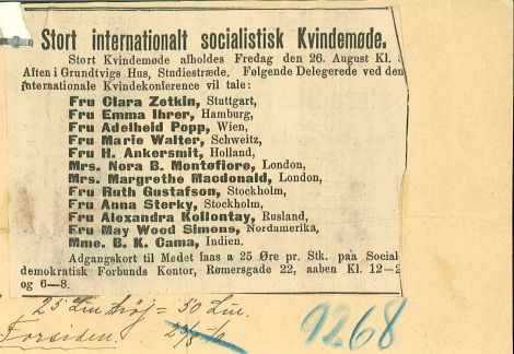 Plakat for internationalt kvindemøde i Grundtvigs hus 26. august 1910