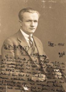 Illustration: Arne Munch-Petersens brev til Stalin på foto af sig selv.