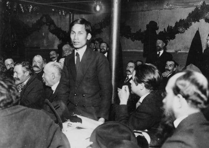 Nguyen-Ai-Quoc (the later known as Ho Chi Minh) speaking at the foundational congress of the French Communist Party in December 1920. Michael Goebel