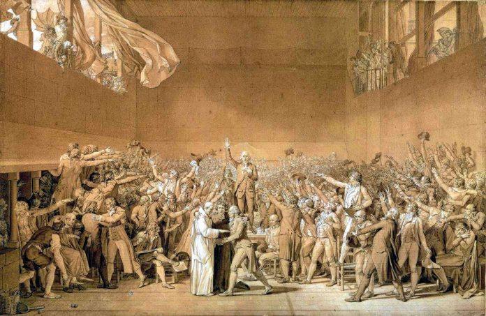 Le Serment du Jeu de paume af Jacques-Louis David (1748–1825), 1791. Credit line © Photo RMN (Agence photographique renunion f kimar) References: 83EE530/MV 840f Source/Photographer: frome de lutene