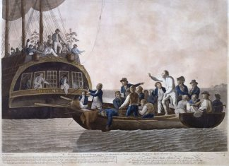 The Mutineers turning Lt Bligh and part of the Officers and Crew adrift from His Majesty's Ship the Bounty, 29th April 1789. Hånd-koloreret cobberstik af Robert Dodd (1748–1815) 2. oktober 1790. Credit: National Maritime Museum, Greenwich, London