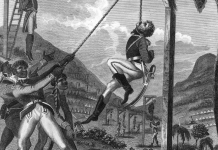 """Revenge taken by the Black Army for the Cruelties practised on them by the French"". Illustration by British soldier and self-admitted ""admirer of Toussaint L'Ouverture"" (chapt.5) Marcus Rainsford from his 1805 book ""An historical account of the black empire of Hayti"". 1805. Source: https://www.loc.gov/pictures/item/2006685880/. Author: Marcus Rainsford (19th century). Public Domain."