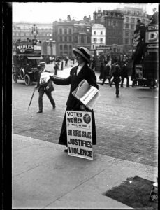The suffragette is selling the 'Votes for Women' newspaper outside Morley's Hotel in Trafalgar Square. The 'Votes for Women' newspaper was one of several suffragette newspapers published during the early years of the 20th century, this particular edition was published on Friday 29th April 1910. Ca.1900-1919. Source: https://www.flickr.com/photos/george_eastman_house/2678367136/in/set-72157606224254056/ Photo: Ch. Chusseau-FlaviensThe suffragette is selling the 'Votes for Women' newspaper outside Morley's Hotel in Trafalgar Square. The 'Votes for Women' newspaper was one of several suffragette newspapers published during the early years of the 20th century, this particular edition was published on Friday 29th April 1910. Ca.1900-1919. Source: https://www.flickr.com/photos/george_eastman_house/2678367136/in/set-72157606224254056/ Photo: Ch. Chusseau-Flaviens