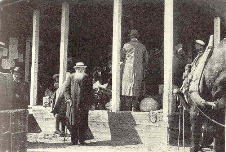 Peter Kropotkin passes through Haparanda in 1917. It is probably taken by a local photographer in Haparanda since it was published on page 39 i n the city of Haparanda's 100th jubilee yearbook published three years after the city turned 100 years in 1942. (