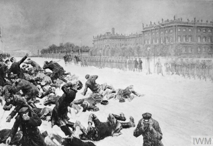 The Russian Revolution, 1905: Artistic impression of Bloody Sunday in St Petersburg, Russia, when unarmed demonstrators marching to present a petition to Tsar Nicholas II were shot at by the Imperial Guard in front of the Winter Palace on 22 January 1905. Source: http://media.iwm.org.uk/iwm/mediaLib//26/media-26740/large.jpg Public domain