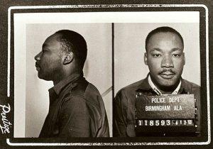 Mugshot of Martin Luther King Jr. following his 1963 arrest in Birmingham. (photo credit: Birmingham police department).