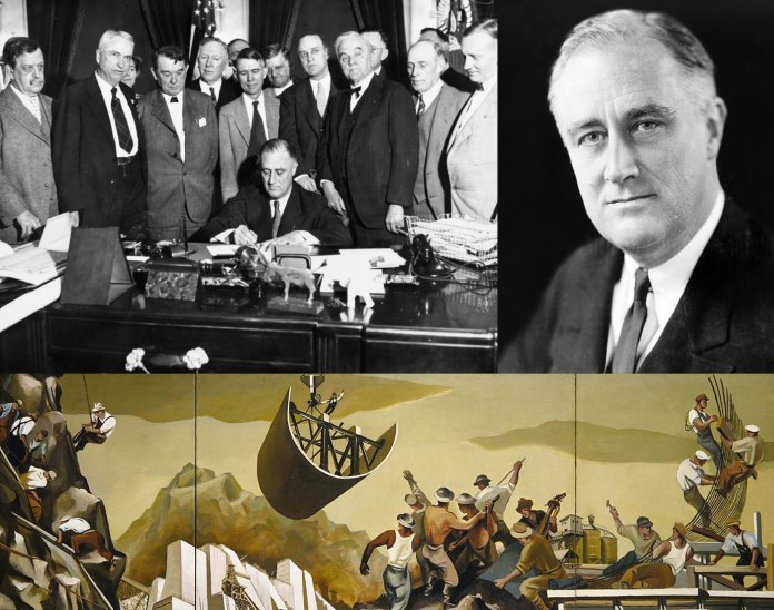 Top left: The Tennessee Valley Authority, part of the New Deal, being signed into law in 1933. Top right: FDR (President Franklin Delano Roosevelt) was responsible for the New Deal. Bottom: A public mural from one of the artists employed by the New Deal's WPA program. Date: 11 January 2008 (original upload date) Source: https://commons.wikimedia.org/wiki/File:NewDeal.jpg Author: LordHarris at English Wikipedia. Public Domain.